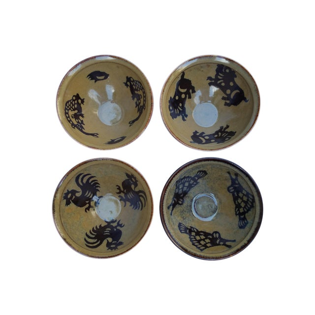 Chinese Hand Thrown Zodiac Bowls - Set of 4 For Sale