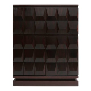 Brutalist Diamond Bar Cabinet in Dark Mahogany