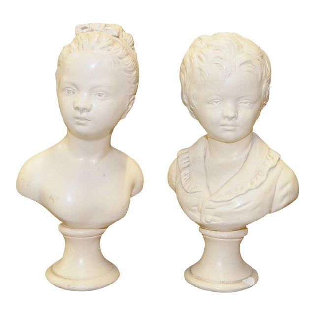 Pair of Vintage White Ceramic Busts - Image 1 of 3