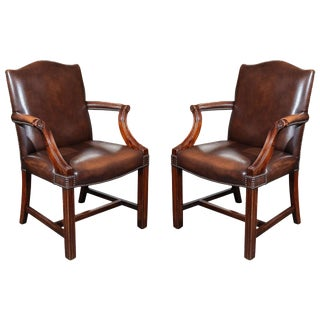 Pair of Georgian Revival Gainsborough Armchairs For Sale