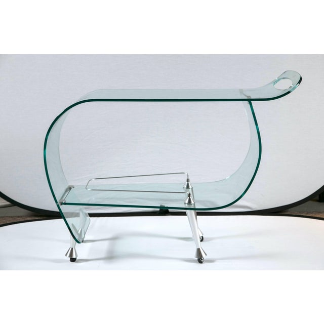 Transparent 1960s Mid-Century Modern Glass Sculpted Bar by Fiom For Sale - Image 8 of 8