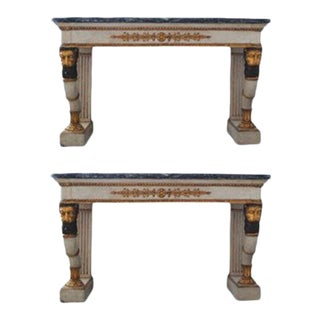Neoclassical Marble Consoles - a Pair For Sale
