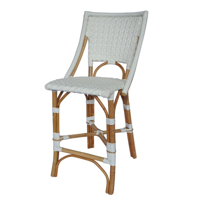 Bistro Counter Chair. Rattan Frame with Polyurethane Weave. Star Pattern. Color - White. Chair weight limit 225.