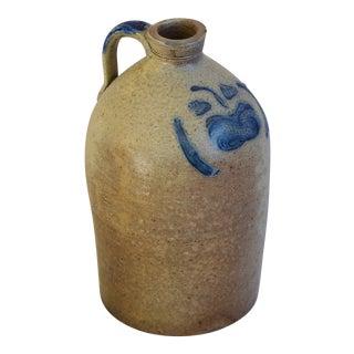 Antique Cobalt Blue Decorated Stoneware Jug For Sale