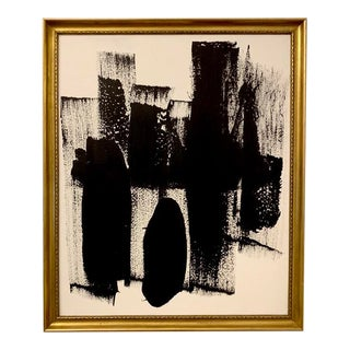 Original Abstract Black and White Framed Painting For Sale