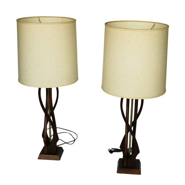 Pair Mid Century Sculptural Teak Wood Lamps - Image 2 of 9