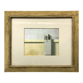 Vintage Painting of Pocket Protector and Pens in Giltwood Frame For Sale