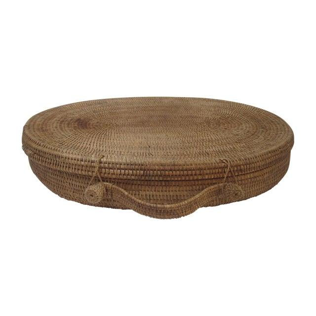 Large Oversized Vintage Oval Lidded Woven Storage Basket For Sale