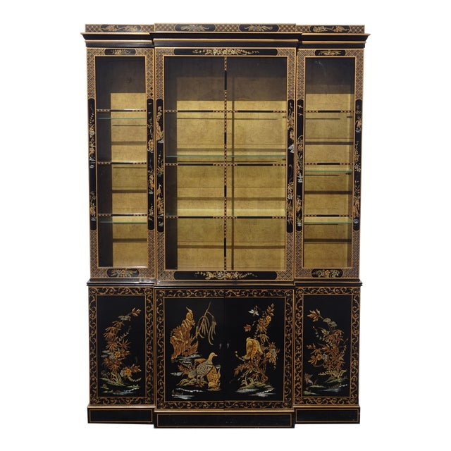 Vintage Drexel Oriental Asian Chippendale Chinoiserie Black China Cabinet Hutch For Sale
