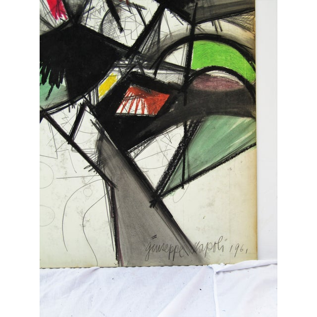 1961 Vintage Giuseppe Napoli Abstract Modern Painting For Sale - Image 4 of 6