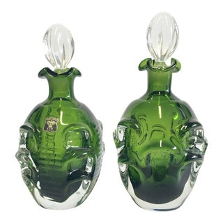 Vintage Mid-Century Modern Swedish Emerald Green Blown Glass Decanters - A Pair For Sale