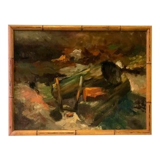 Vintage Impressionistic Campfire Painting For Sale