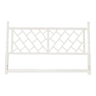 1970s Chinese Chippendale True White King Size Headboard For Sale
