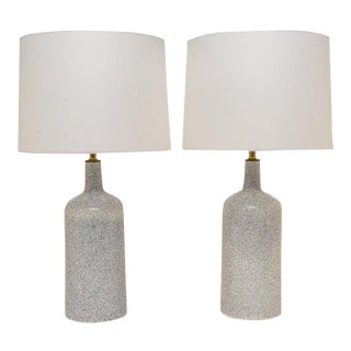 Crackle Glaze Modern Table Lamps by Arabia - a Pair For Sale