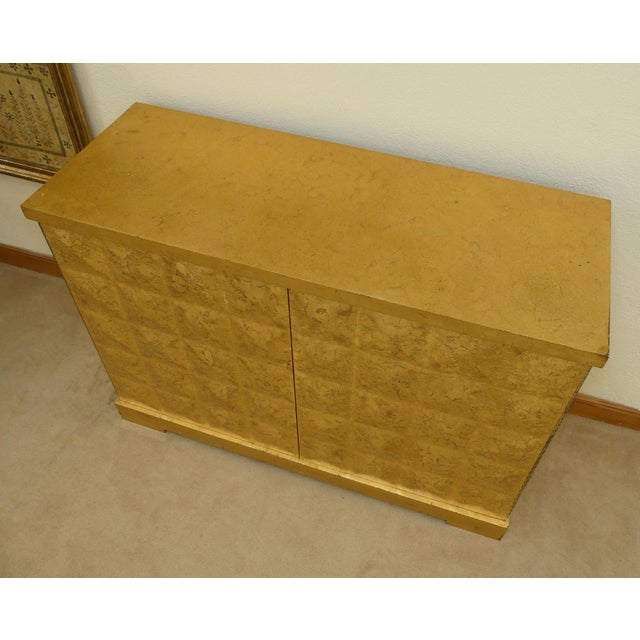 Contemporary Baker Barbara Barry Giltwood Gold Leaf Diamond Cabinet For Sale - Image 3 of 10