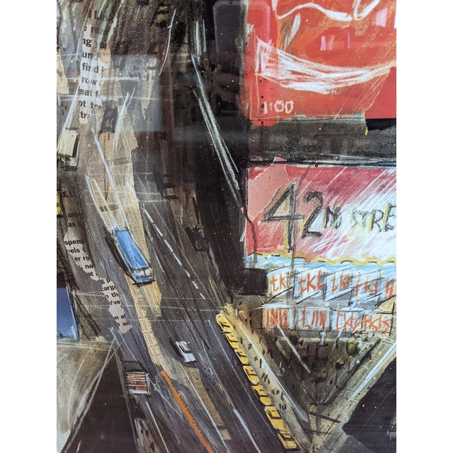 """1980s """"Times Square"""" Cityscape Lithograph, Framed For Sale - Image 4 of 12"""