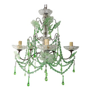 1920s Green Murano Flowers Beads Drops Crystal Chandelier For Sale