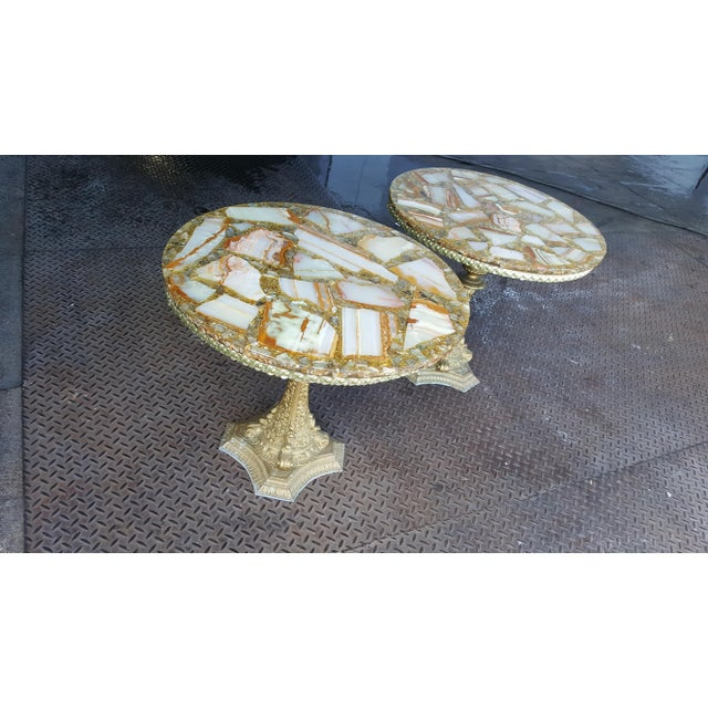 Vintage Arturo Pani Hollywood Regency Agate & Gold Side - A Pair For Sale In Providence - Image 6 of 7