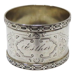 American Victorian Coin Silver Napkin Ring Mid 1th C For Sale