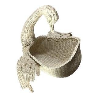 Vintage Wicker Swan Planter Basket For Sale
