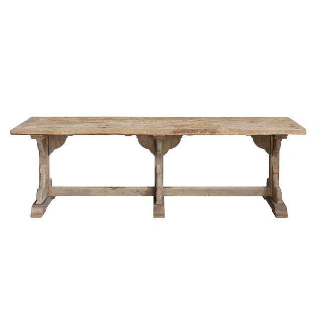 French Rectory Wooden Table For Sale - Image 4 of 8