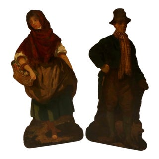 Early 19th Century Georgian Pinewood Oil-Painted Dummy Boards - a Pair For Sale