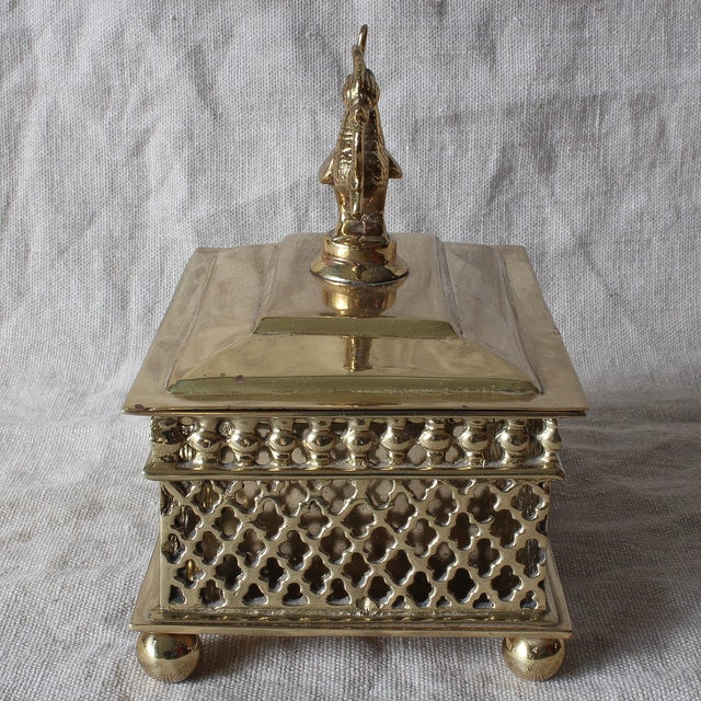 Indian Brass Betel Nut Box With Hamsa - Image 4 of 5