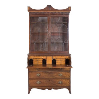 English George III Secretaire Bookcase For Sale