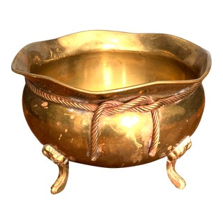 Vintage Brass Footed Bowl For Sale