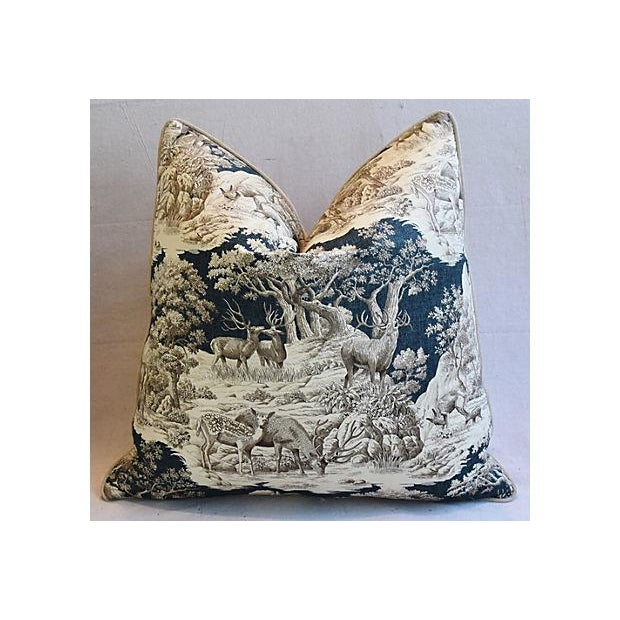"""Late 20th Century 25"""" Custom Tailored Woodland Toile Deer & Velvet Feather/Down Pillows - Pair For Sale - Image 5 of 11"""