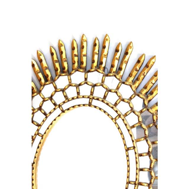 Mid-Century Modern Oval Sunburst Giltwood Mirror | Chairish