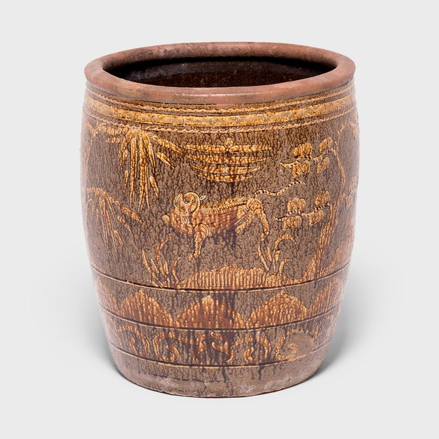 Chinese Fu Dog and Pine Tree Pickling Jar For Sale In Chicago - Image 6 of 6