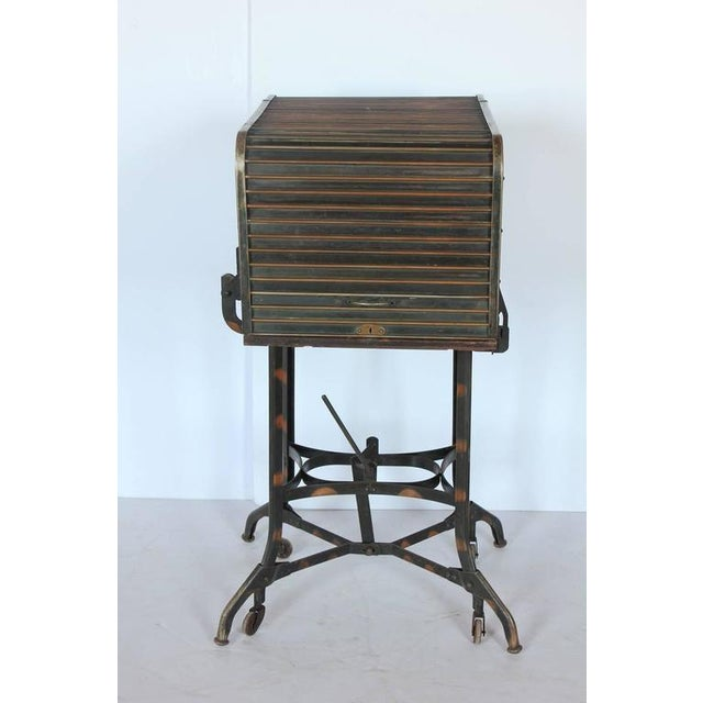 Industrial Early 20th C. Vintage Toledo Industrial Roll Top Bar Cart For Sale - Image 3 of 6