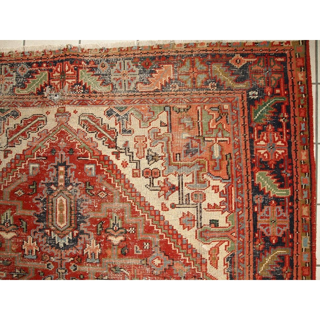 1920s Hand Made Antique Persian Heriz Rug - 5′7″ × 8′1″ - Image 4 of 10