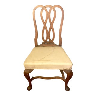 Flemish Pad Foot Side Chair With Woven Knot Back For Sale