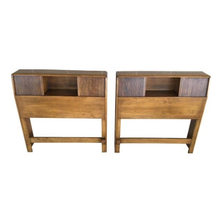 Mid-Century Modern Heywood Wakefield Bookcase Style Wheat Finish Twin Headboards - a Pair For Sale
