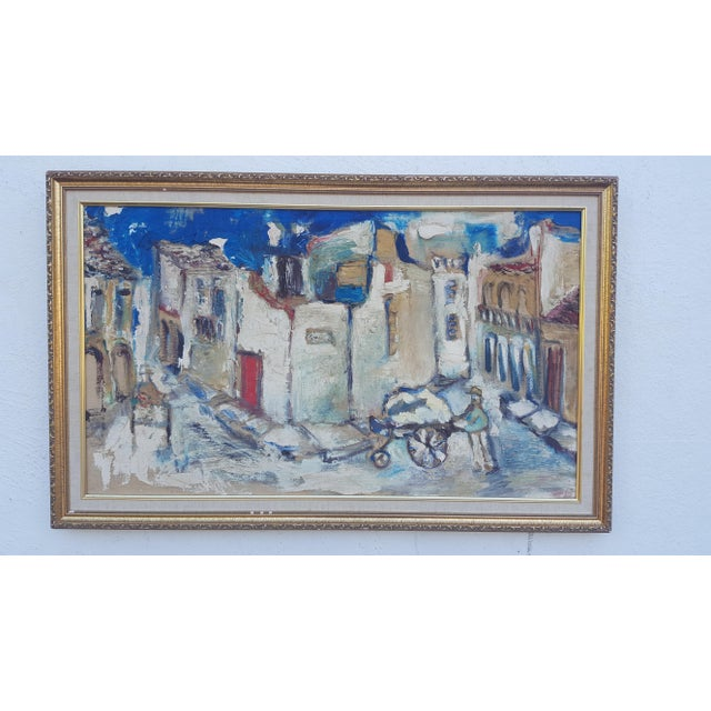 1950's Technique Palette Impasto Cubist Abstract Oil on Canvas Painting For Sale - Image 10 of 10