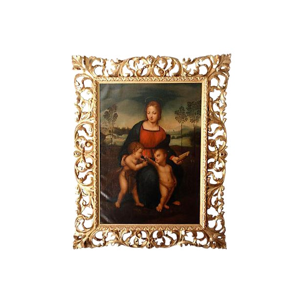 Original Antique Old Master Italian Oil Painting Madonna After Raphael 18th C. For Sale