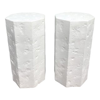 Octagonal Sirmos Style Plaster Quarry Rock Pedestals -A Pair