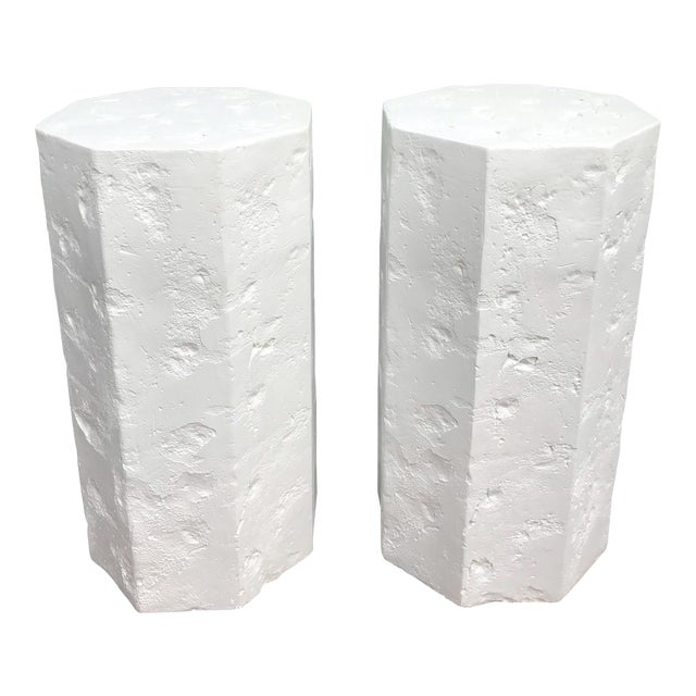 Octagonal Sirmos Style Plaster Quarry Rock Pedestals -A Pair For Sale
