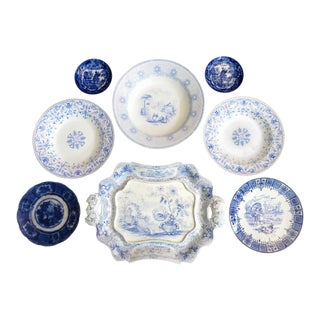 Antique Collection of Blue & White Transferware - 8 Pieces