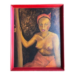 1970s Vintage Topless Woman Portrait Red Framed Painting For Sale
