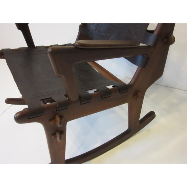 Angel Pazmino Mid Century Sculptural Rosewood Rocking Chair For Sale - Image 10 of 12
