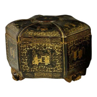 18th Century Antique English Chinoiserie Tea Caddy For Sale