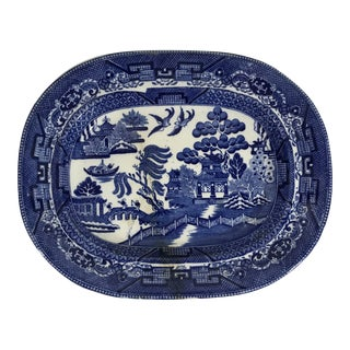 Antique Blue Willow Porcelain Oval Platter For Sale