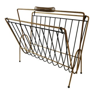 Mid Century Wire Gold and Black Magazine Rack For Sale