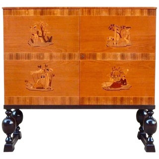 1940s Art Deco Reiners Mobler Mjölby Inlaid Storage Cabinet For Sale