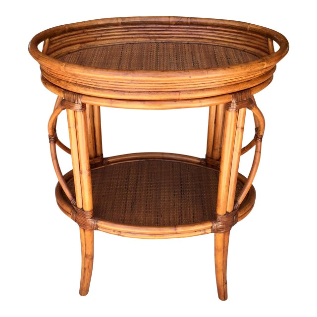 Traditional Ethan Allen Tommy Bahama Style Bamboo Tray Table For Sale