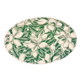 Vintage Green Magnolia Wallace China Oval Serving Platter For Sale