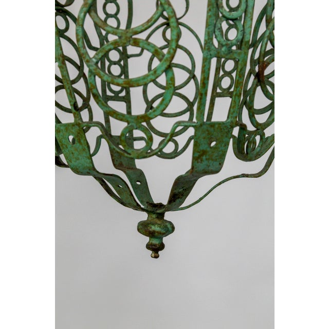 1920's Art Deco Green Oblong Cage Lantern With Circle Motif For Sale - Image 9 of 11